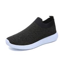 Rimocy più il formato traspirante air mesh scarpe da tennis delle donne 2019 primavera estate scivolare sulla piattaforma di lavoro a maglia appartamenti morbide scarpe da trekking donna(China)