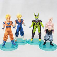 Free Shipping 4pcs/set Anime Dragon Ball Z Dragon Ball Goku Buu Cell Vegetto PVC Action Figure Model Toys Dolls KA0280