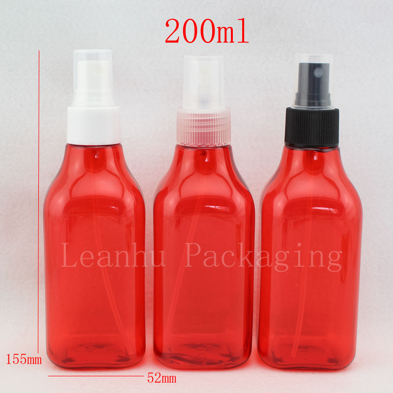 200ml X 30 empty setting spray red square refillable bottle 200cc colored cosmetic packaging containers ,perfume spray bottle(China (Mainland))