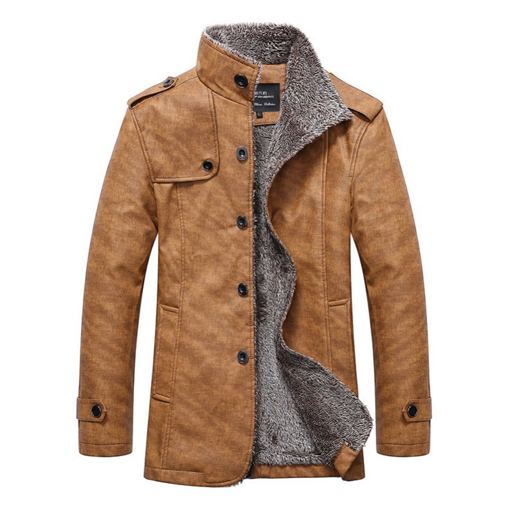 Mens jackets sale - Hot Sale High Quality Winter Men Leather Jacket Man Waterproof Parka Slim Long Jackets Mens Fashion