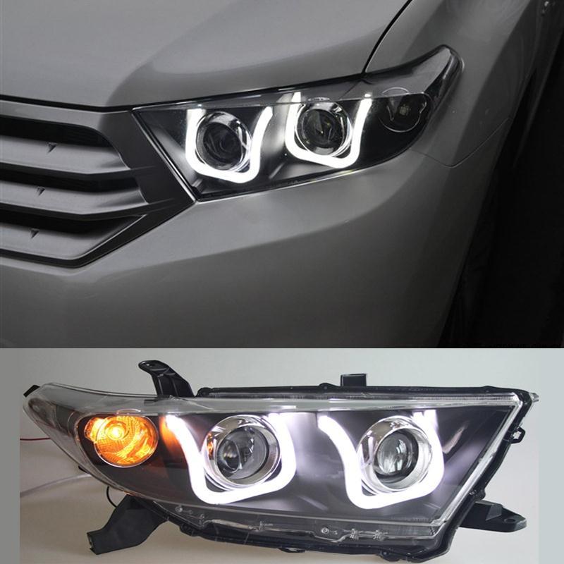 Newest Car Styling Angel Eye Headlight Headlamp For Toyota Highlander 2011 2012 Type U Free High quality<br><br>Aliexpress