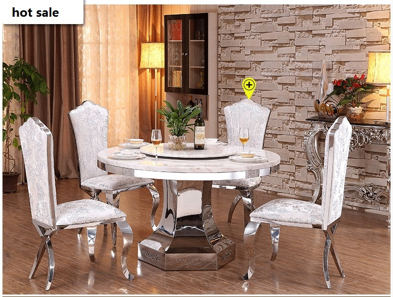 Dining table set square stainless steel dining table with marble table top dining room furniture(China (Mainland))