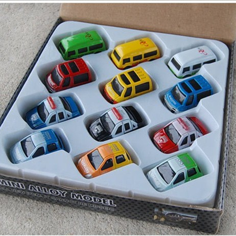 12 piece/set mini assembled pull back toy car model for children many color for bus police car jeep minibus kids play game gift(China (Mainland))