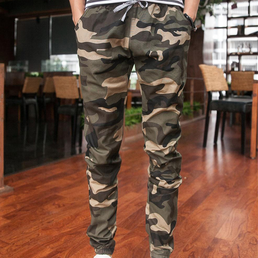 2016 New joggers men's camouflage trousers beam foot slacks elastic draw string military cargo mens pants MAPP04278(China (Mainland))