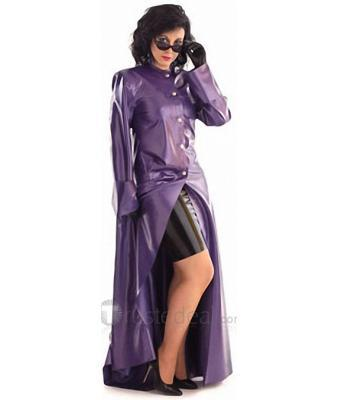 0.44mm Floor-length Purple Latex Dust Coat(China (Mainland))