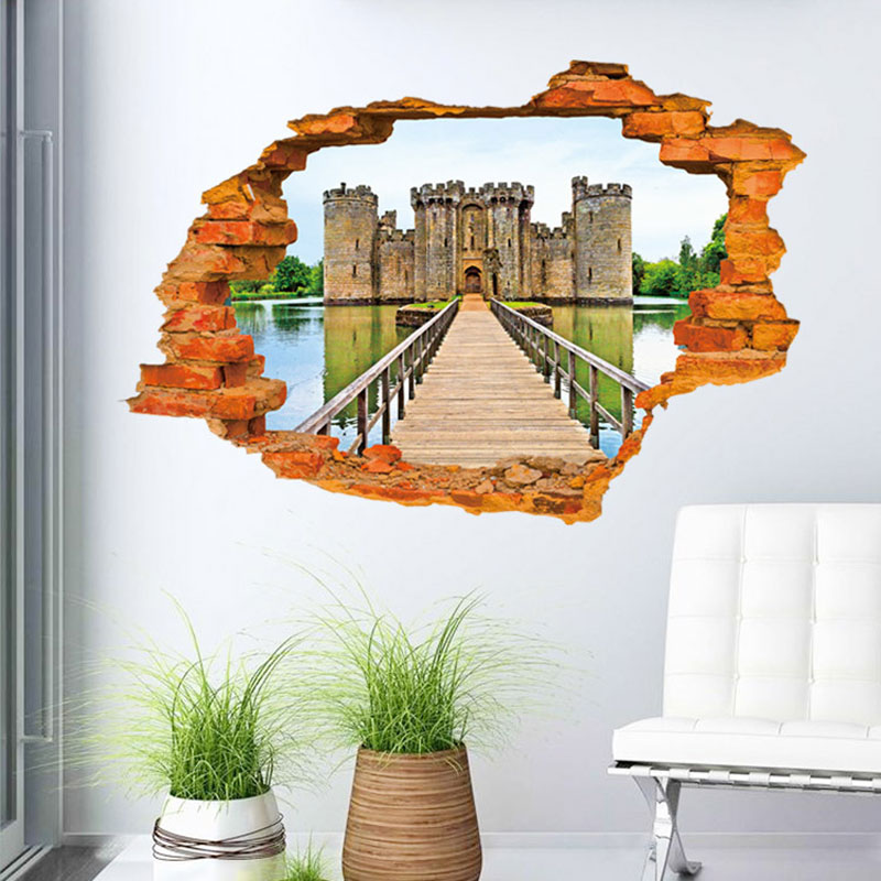 Creative Home Decor 3D Wall Sticker Broken Wall Style Dreamlike Lake Castle Pattern For Kids Room 60*90 CM(China (Mainland))