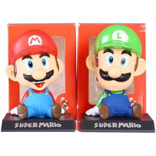 13cm Super Mario Bearded Sitting Swing Head Action Figures Japan Anime Toys Collections With Nice Package #E