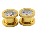 2pcs 10mm Gold Plated Stainless Steel Screw On Cubic Zircon Expander Ear Gauges Ear Plug Flesh