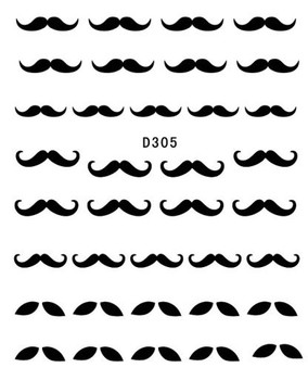 8 Styles Nail Art Water Transfer Sticker Decal/3D Tatoo Hat Moustache/ Mustache Design Free Shipping
