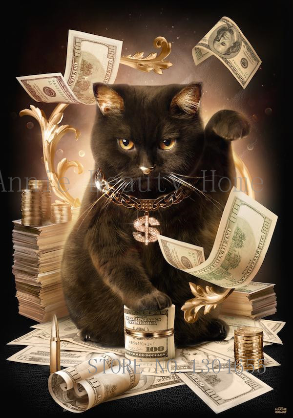 Cat With Cash Pattern Diamond Embroidery DIY Needlework 5D Diamond Painting Cross Stitch Full Drill Rhinestones Painting AJ653(China (Mainland))
