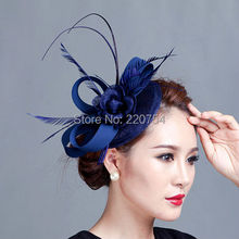 Ladies royal blue fascinators flower feather sinamay hats women hair accessories elegant fascinators for wedding party and races(China (Mainland))