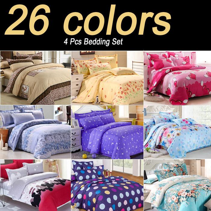 2015 New 26 Kinds Bedding Set Fashion Bed Linen Sheet / Duvet Cover / Pillowcase Winter Cotton 4 Pcs / Bed Set(China (Mainland))