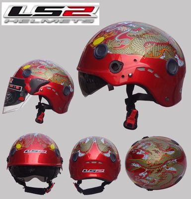 Free shipping authentic wear a motorcycle helmet LS2 OF101 double mirror washable lining half helmet / Red Dragon(China (Mainland))