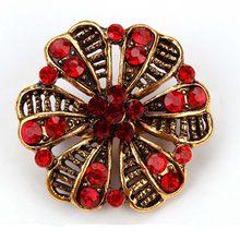 MIEG Dell'annata di Colore Dell'oro Placcato Brooches Del Fiore per Le Donne del Rhinestone di Cerimonia Nuziale Bouquet Bijoux Spilli Gioielli Accessori di Abbigliamento(China)