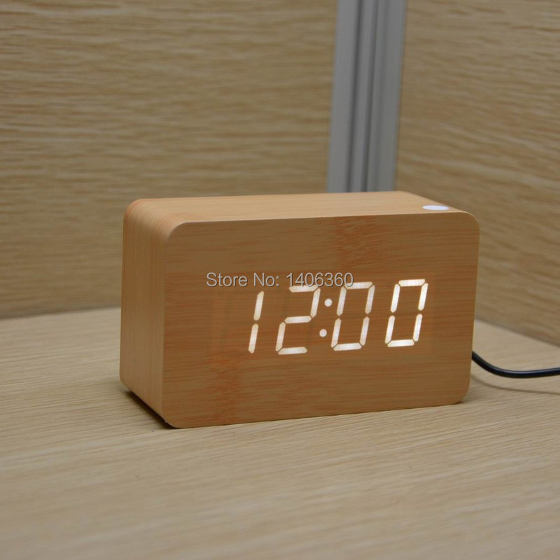 Wood Design LED digital Alarm Clock Calendars Temperature display sound broadcast Battery/USB power electronic desk clock(China (Mainland))
