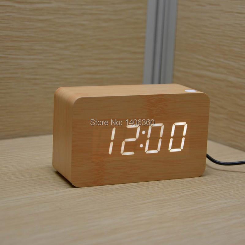 Wood Design LED digital Alarm Clock Calendars Temperature display sound broadcast Battery/USB power electronic desk clock(China (Mainland))