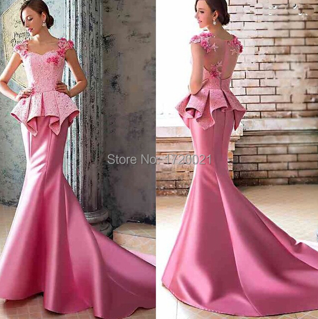 Custom Made Evening Gowns Sweetheart Neckline Lace Appliques Hand Made Flowers Zipper Lace Court Train Evening Dresses Vestidos(China (Mainland))