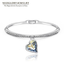 Neoglory Charm Heart Bangles & Bracelets For Women Austrian Crystal Rhinestone Hand Female Jewelry Wholesale Blue 2016 JS4 He1(China (Mainland))