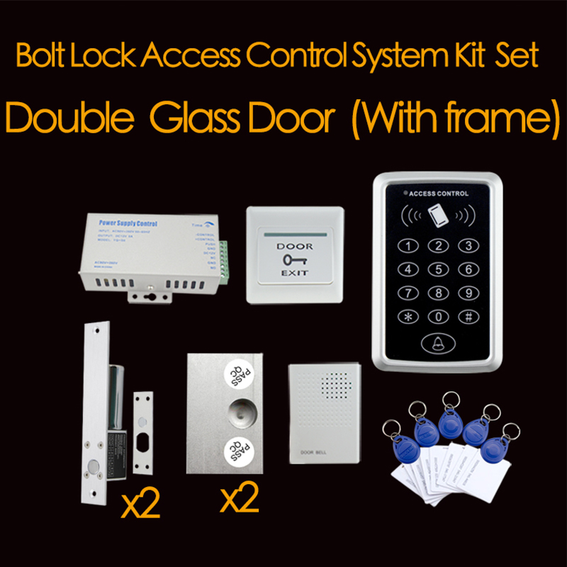 Double Glass Door With Frame Electric Bolt Lock Access Control System Kit Set with complete items(China (Mainland))