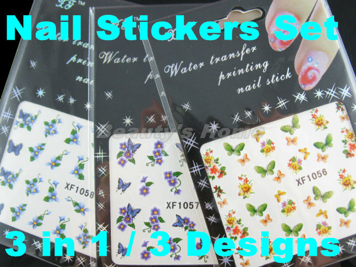 3 1 different designs set Water transfer nail adhesive Nail Stickers decals Art flower #1402 - Packing Supplier(Bottles and Jars store)