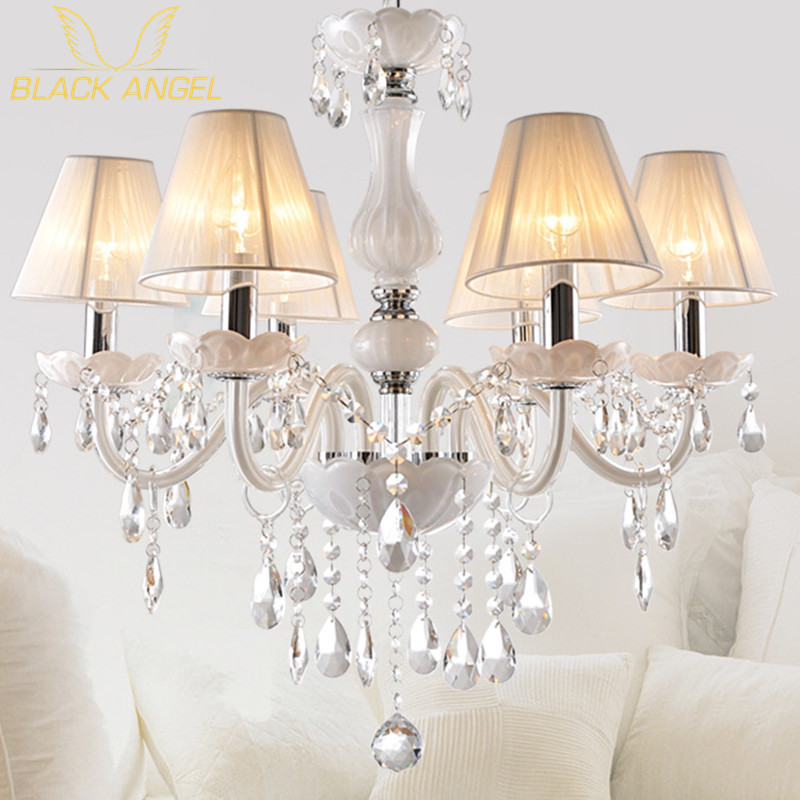 New modern white crystal chandeliers for livingroom for White chandelier for bedroom
