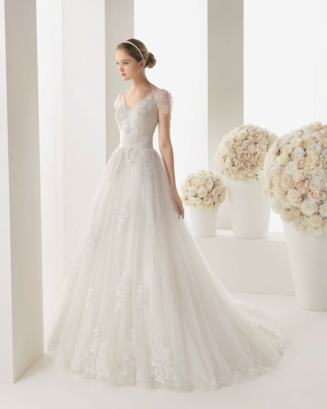 2015 new empire wedding dress with lace bridal gown us for Us size wedding dresses