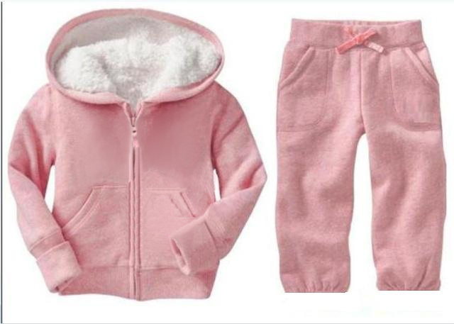 2012 New Autumn Fashion  Children Clothing  Set Kids Suit Double lamb Suit Pink Suit For Girls  Wear Free Shipping