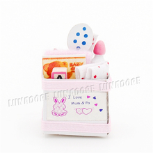 1:12 Miniature Baby Basket Box with Toys and Milk Bottle Pink Dollhouse Baby Room Accessories (China (Mainland))