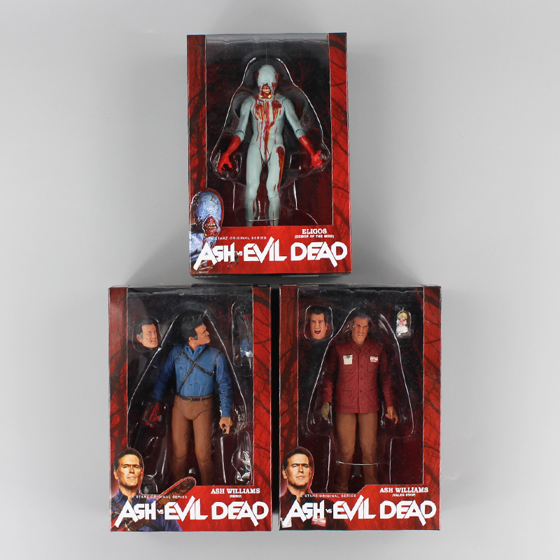New 3pcs/lot NECA Evil Dead Ash Vs Evil Dead Ash Williams Eligos PVC Action Figure Collectible Model Toy