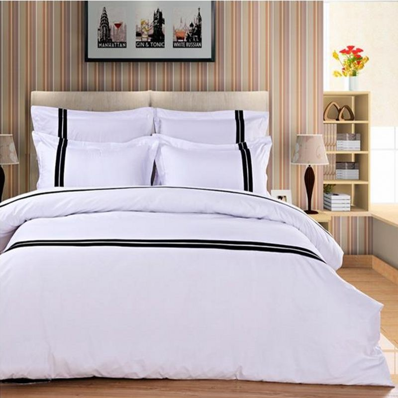 100 cotton solid color bedding set queen king size 4pcs white comforter duvet cover stripe. Black Bedroom Furniture Sets. Home Design Ideas