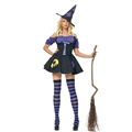 Fashion Woman Halloween Costume Evil Witch Cosplay Fancy Dresses With Hat No Stockings Happy Holiday Role