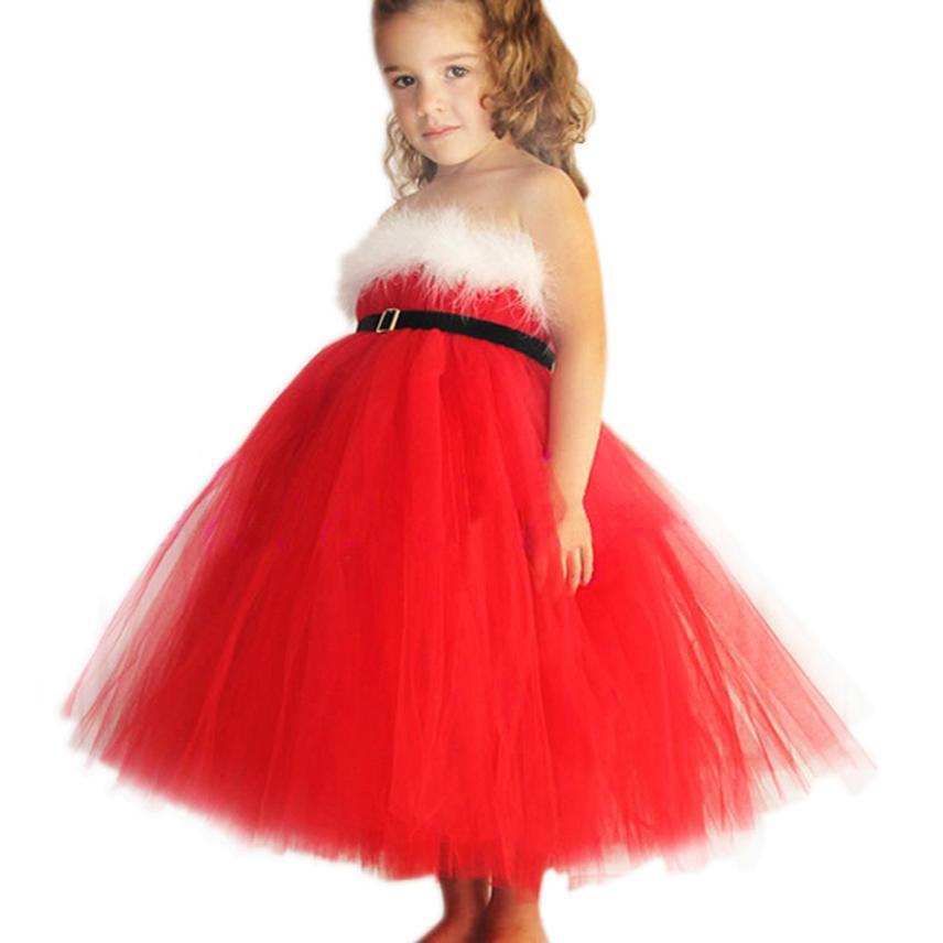 2015 new robe fille enfant princess christmas party red paillette tutu