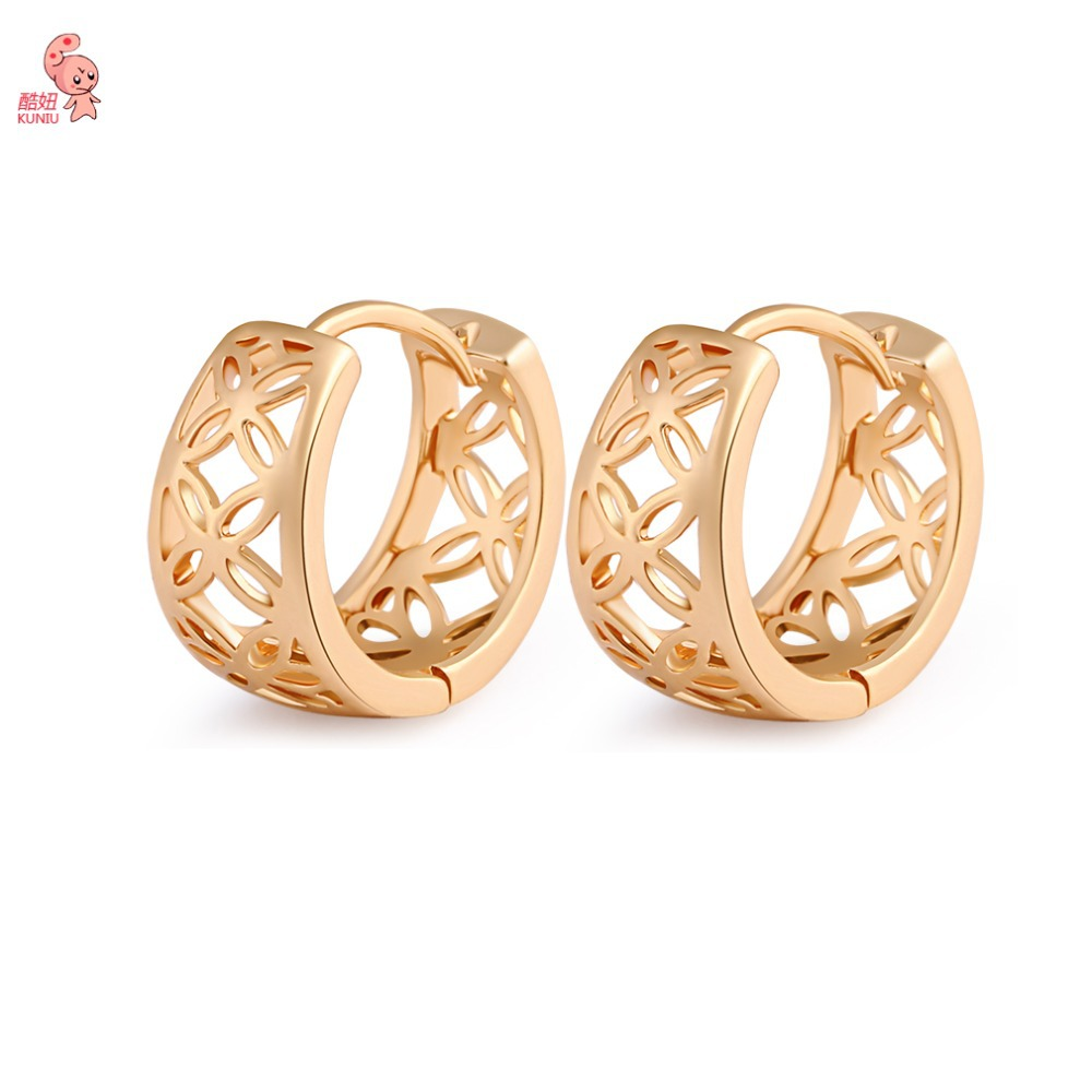 Summer Style Jewelry Hollowed-out 18K Gold Plated Luxury Hoop Earrings For Women Wedding Gold Earrings Jewelry Free Shipping(China (Mainland))