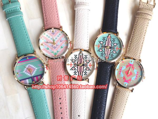 2015 Promotion Aztec Print Geneva Watches Ladies Women Dress Watch Fashion Leather India flower pattern Watches 10pcs/lot<br><br>Aliexpress