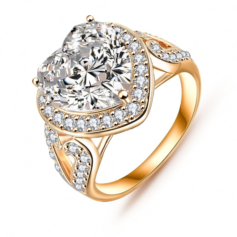 Big Heart Ring Real Platinum/18K Gold Plated Micro Pave Clear AAA Cubic Zirconia Forever Ring CRI0027(China (Mainland))