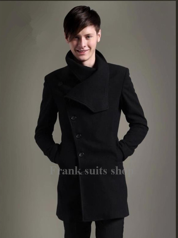 Black Mens Pea Coat Promotion-Shop for Promotional Black Mens Pea ...