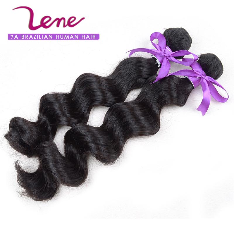 Lene Hair 7A wet and wavy human hair remy hair bundles no tangle brazilian virgin hair loose wave(China (Mainland))