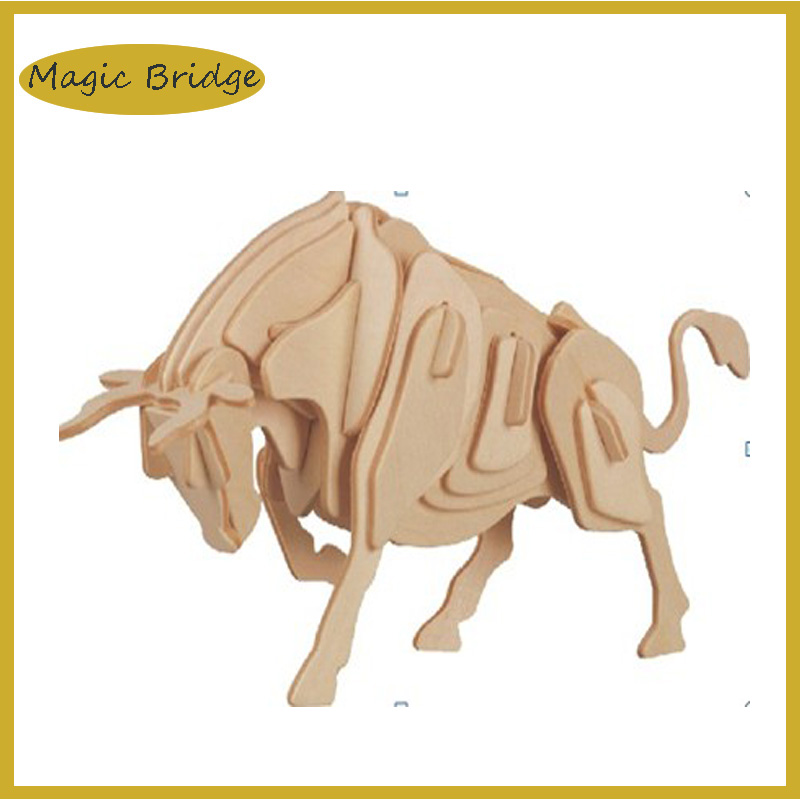 3D Jigsaw puzzle Wooden bull DIY toysanimal model free shipping(China (Mainland))