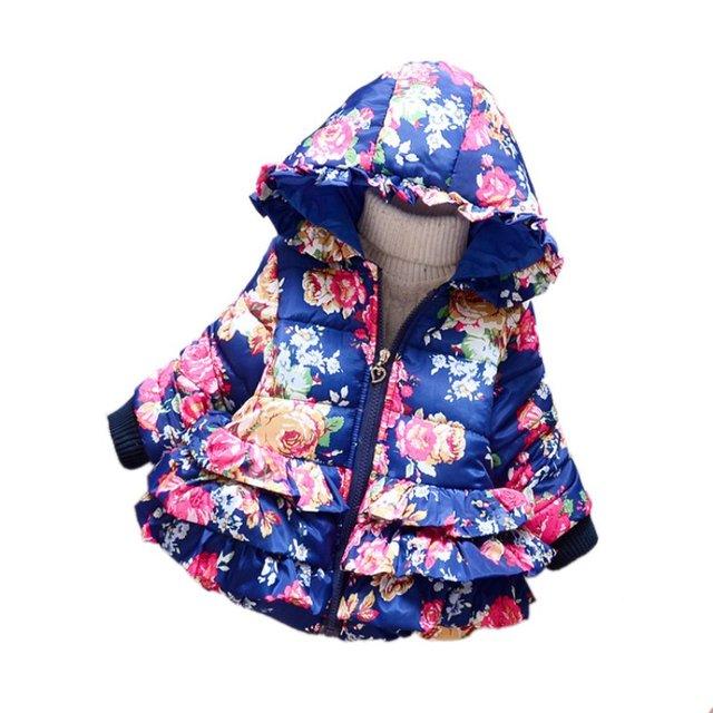 Зимний Baby Дети Девушки Капюшоном Толстовка С Капюшоном Вниз Пальто Куртка Цветочный Печатные Пиджаки