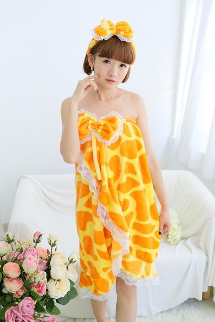 Милый трубка женская верхняя халат жираф леопардовым полотенце с бантом повязка на ...