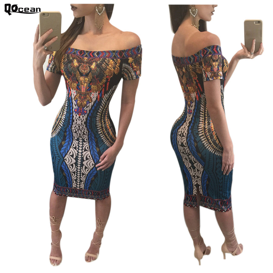 Qocean Women Dresses Printed Sexy Off Shoulder Slim Dashiki Dress Short Sleeve Evening Party Ladies Dress Vestidos RD142(China (Mainland))
