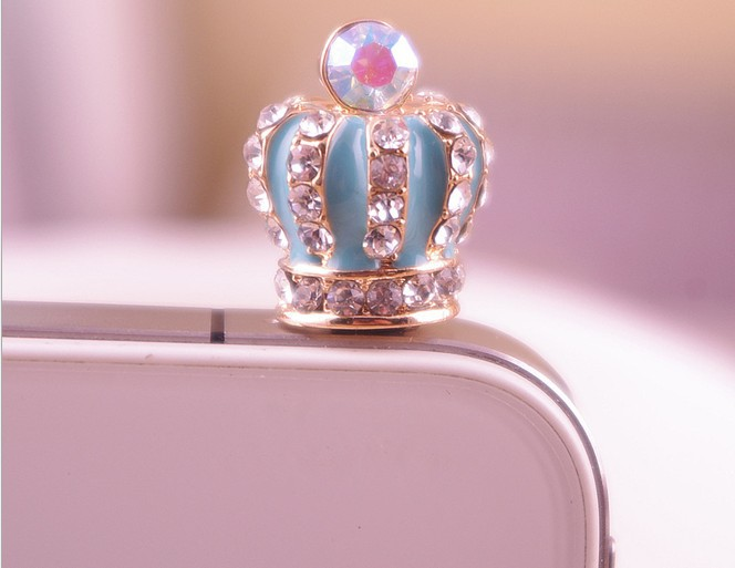 Bling Bling cartoon crown phone diamond cell phne dust proof plug for iphone(China (Mainland))