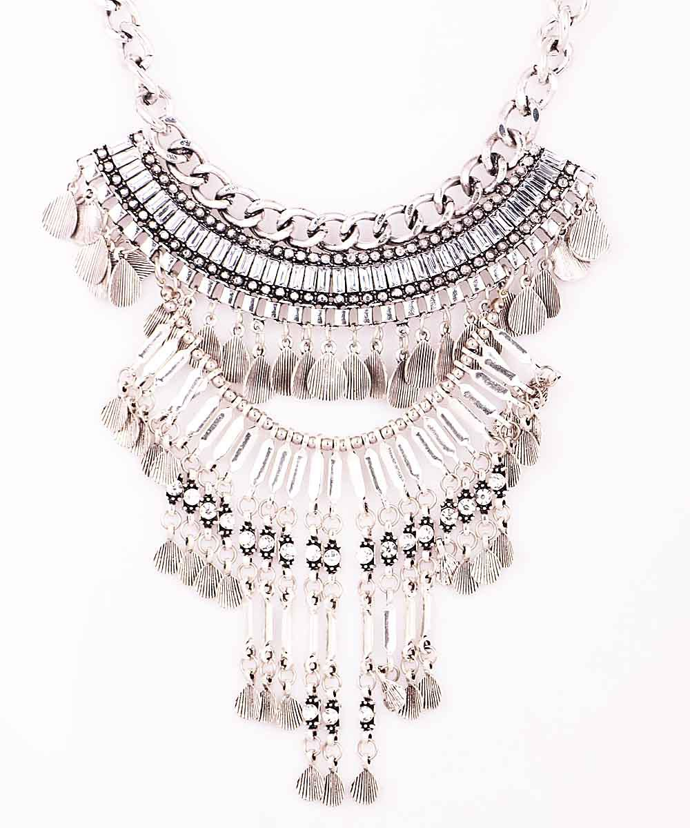 New Handmade Fashion Woman Noble Antique Silver Leaf Style Pendant Multilayer Crystal Bib Statement Chunky Choker Necklace(China (Mainland))