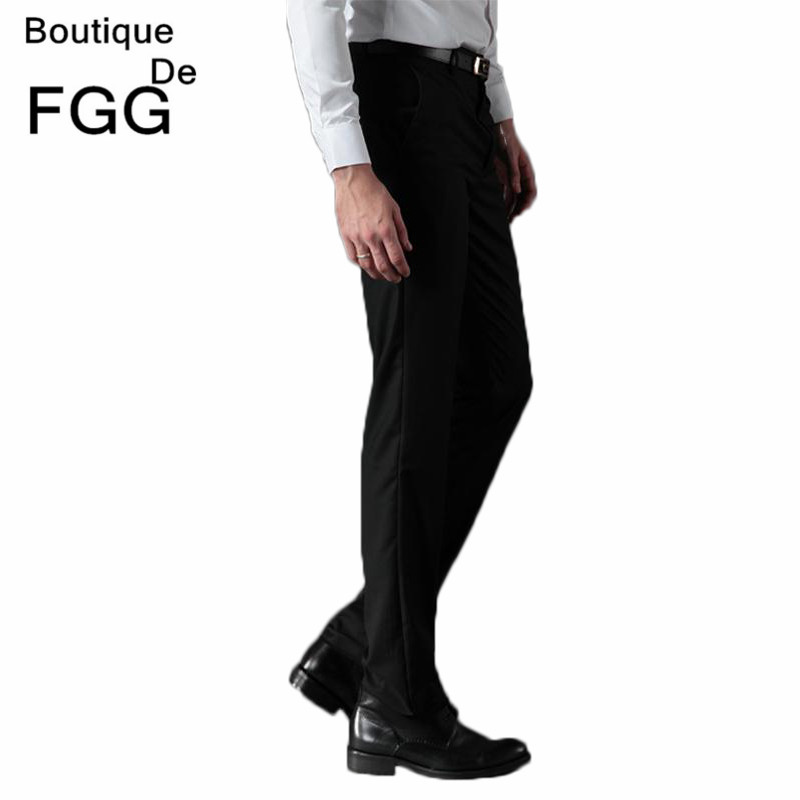 Wrinkle Free Men's Fashion Clothing Wedding Party Prom Black Casual Pants Slim Fit Office Work Wear Formal Business Suit Pants(China (Mainland))