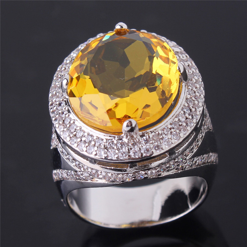 2015 NewLuxury Big Rings For Women 18K White Gold Plated Oval Yellow Stone Cr