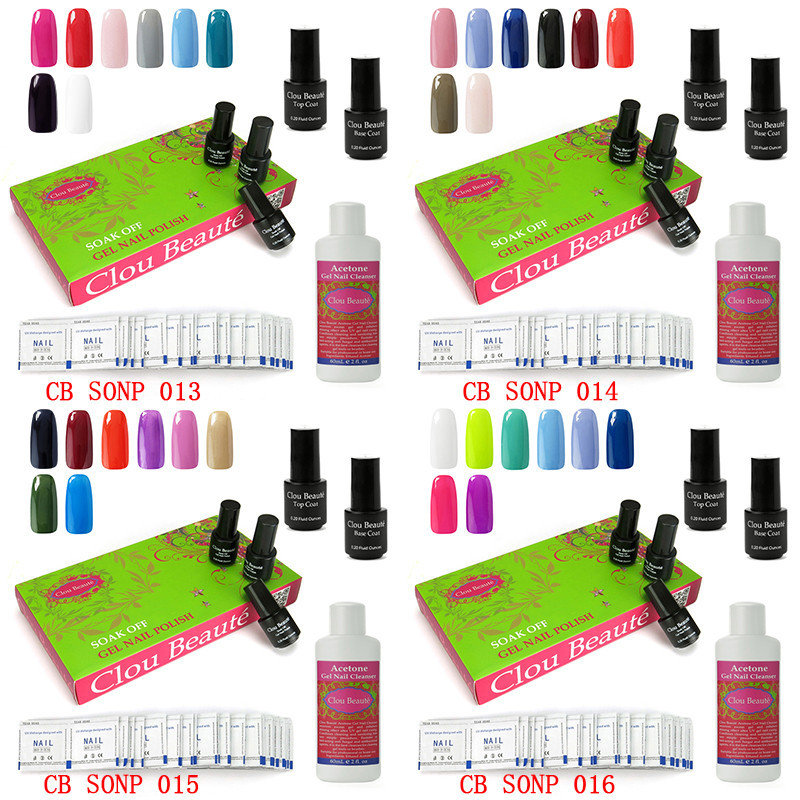 Clou Beaute Soak Off Gel Nail Polish Base Top Coat Acetone Gel Nail Cleanser Remover Wraps Urite Nail-094(SONP013-016)