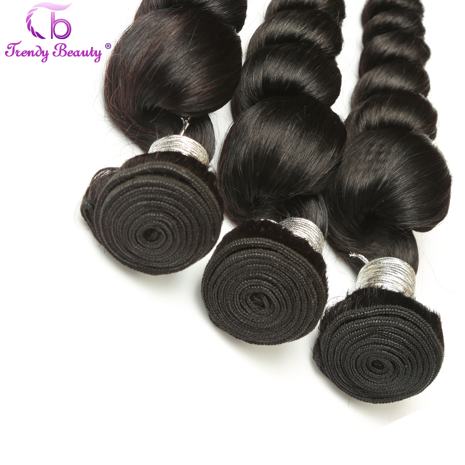 Trendy Beauty Hair Indian Loose Wave Non-Remy Human Hair Weave Bundle Natural Black 1B 8-26 inch Free Shipping Can be Dyed