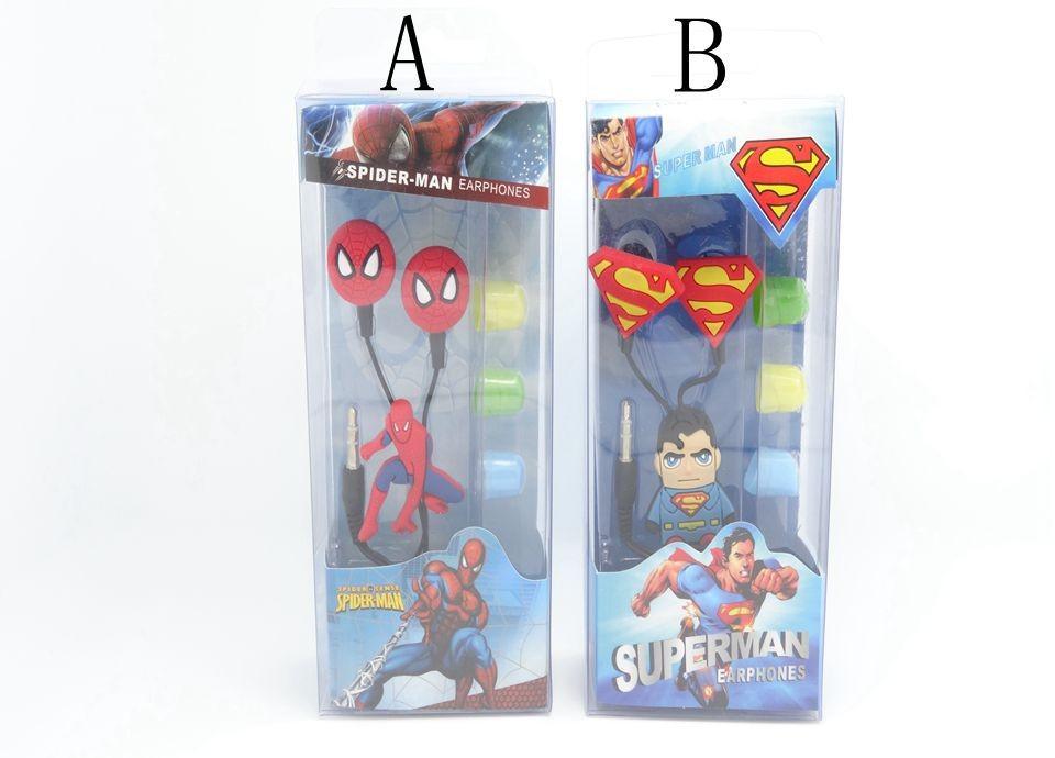 3D Cartoon Superman Spiderman 3.5mm In-ear Headphones Cellphone MP3 Earphones Retail Box, 1 - Shen zhen HW (3C store Digital Accessories Company)
