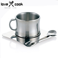 Double Deck Coffee Cup Set Stainless Steel Coffee Cup Tray Spoon Tea Mug European Style Drinkware
