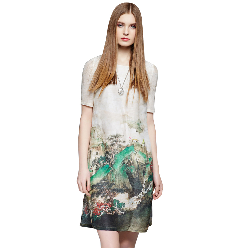 High Quality Silk Printed Women Summer Dress 2016 New Arrival Sundress Short Sleeve O-Neck Casual Vestidos Femme 2216